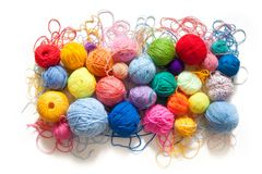 Colored balls of yarn. View from above. Rainbow colors. All colo. Rs. Yarn for knitting. Skeins of yarn stock images