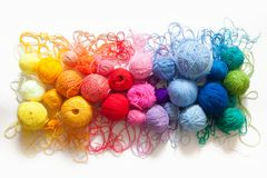 Colored balls of yarn. View from above. Rainbow colors. All colo. Rs. Yarn for knitting. Skeins of yarn royalty free stock photography