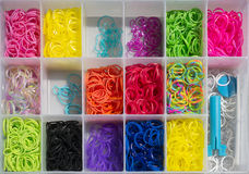 Colored bands and craft box Stock Images