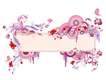 Colored banner with floral ornament and butterfly Stock Photo
