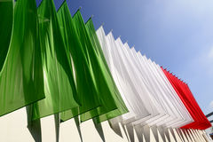 Colored banners make the Italian flag, EXPO 2015 Milan Royalty Free Stock Photo