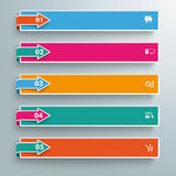 5 Colored Banners Side Arrows. Arrows with banners on the grey background Stock Photo