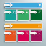 2 Colored Banners 6 Squares Arrows. Arrows with banners and squares on the gray background Stock Illustration