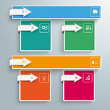 2 Colored Banners 4 Squares Arrows. Arrows with banners and squares on the gray background Vector Illustration