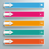 5 Colored Banners Squares Arrows. Arrows with banners on the gray background Vector Illustration