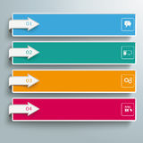 4 Colored Banners Squares Arrows. Arrows with banners on the gray background Royalty Free Illustration