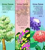 Colored banners with tree, flower and abstraction with space for your advertising. Vector Royalty Free Stock Image