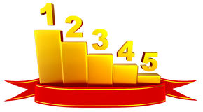 Colored bar chart depicting growth. 3D rendering of red ribbon award winner with a golden business-bar chart as graph, depicting growth to show profits and Royalty Free Stock Images