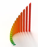 Colored Bar Chart Graph. A green and red colored bar chart graph Royalty Free Stock Images
