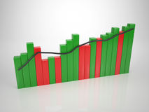 Colored Bar Diagram - Tendency Up. In Red and Green Royalty Free Stock Photography
