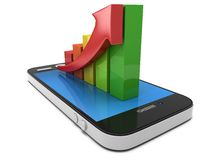 Colored bar graph with red arrow on smartphone Royalty Free Stock Images