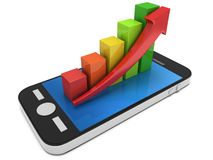 Colored bar graph with red arrow on smartphone Stock Photos