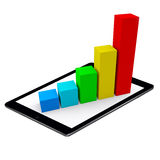 Colored Bar Growing Chart Pad Tablet Isolated Royalty Free Stock Image