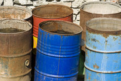 Colored barrels Stock Photos