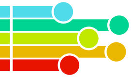 Colored bars ending with circles. A set of five bars of different colors from blue to red, starting with a square dot and ending with a circle Stock Photo