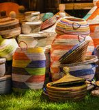 Colored baskets exposed for sale stock photography