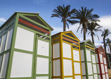 Colored bathing huts Royalty Free Stock Photo