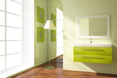 Colored bathroom. Bright bathroom composition with green furniture Stock Photography