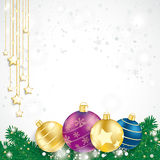 Colored Baubles Fir Branches Chain Stars Royalty Free Stock Photo