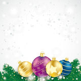 Colored Baubles Fir Branches Royalty Free Stock Photography