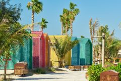 Colored beach bathing cabins in Dubai. United Arab Emirates Royalty Free Stock Images