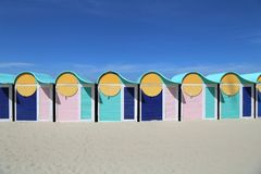 Beach huts on Dunkirk beach, France. Colored beach cabins on Dunkirk beach in France Royalty Free Stock Photo