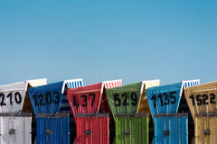 Colored beach chairs Stock Photo