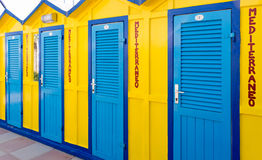 Colored Beach Huts. Cabins sea royalty free stock photography