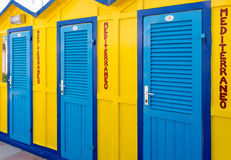 Colored Beach Huts. Cabins sea royalty free stock photos