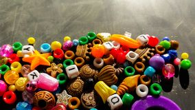 colored beads for necklaces and bracelets Royalty Free Stock Photo