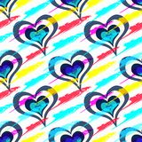 Colored beautiful hearts on the day of the holy valentine seamless pattern. Quality vector illustration for your design stock illustration