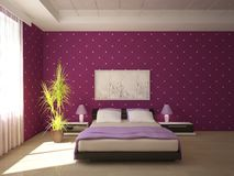Colored bedroom design Stock Photography