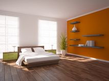 Colored bedroom design Stock Images