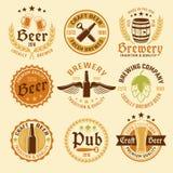 Colored Beer Emblem Set Stock Images
