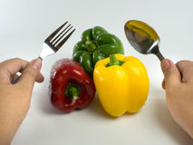Colored bell peppers with spoon and fork in hands. Red, green and yellow bell peppers with spoon and fork for healthy concept stock photography