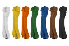 Colored belts stock photos