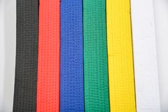 Colored Belts In Martial Arts Royalty Free Stock Photography