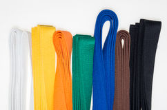 Colored belts in martial arts, and a part of judo uniform Stock Image