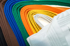 Colored belts in martial arts, and a part of judo uniform Royalty Free Stock Image