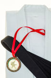 Colored belts in martial arts, and a part of judo uniform Royalty Free Stock Photography