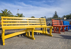 Colored benches. Some colored benches in a namibian park royalty free stock photography