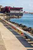Colored benches on the waterfront of Pomorie, Bulgaria Royalty Free Stock Photography