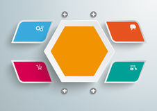 4 Colored Bevel Rectangels Hexagon Infographic PiA. Colored bevel rectangles on the grey background. Eps 10  file Royalty Free Stock Photos