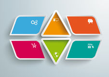 4 Colored Bevel Rectangels 2 Triangles Infographic Stock Photo