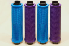 Colored bicycle grips close-up on a light background Royalty Free Stock Photography