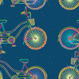 Colored bicycles pattern. Whimsical pattern design of colored bicycles Royalty Free Stock Images