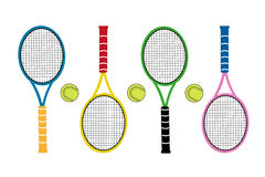 Colored big tennis rackets with tennis ball. Active sports. Stock Images