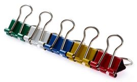 Colored binder clips Stock Image