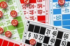 Colored bingo cards with number balls Royalty Free Stock Image