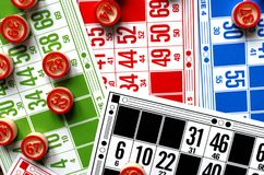 Colored bingo cards with number balls Royalty Free Stock Photo